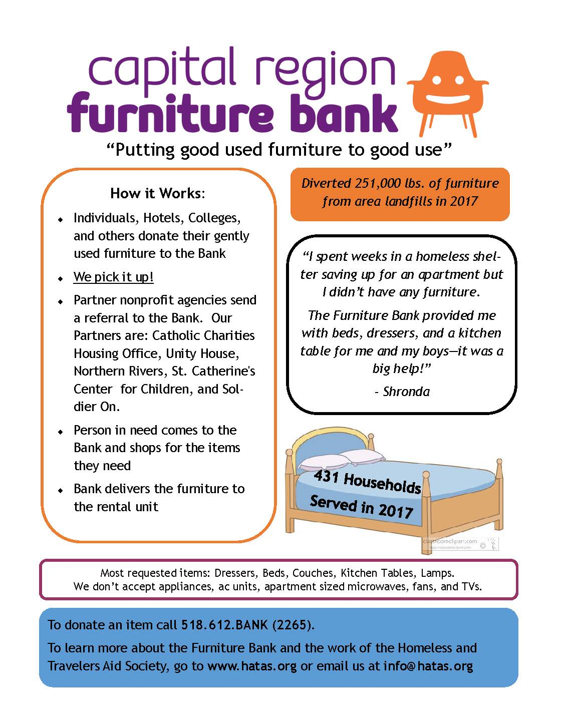 The Homeless U0026 Travelers Aid Society (HATAS) Is Seeking Gently Used  Furniture, Such As Dressers, Beds, Couches, Kitchen Tables, And Lamps. They  Will Pick Up ...